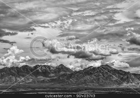 Summer Monsoon and Mountain stock photo, Monsoon clouds forming around arizona  mountain in summer by Scott Griessel