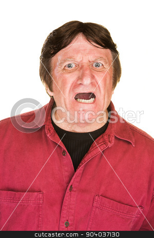 Screaming Man stock photo, Screaming middle aged male over white background by Scott Griessel