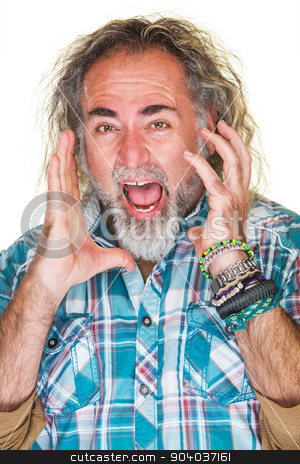 Terrified Man Streaming stock photo, Close up of terrified man screaming in fear by Scott Griessel