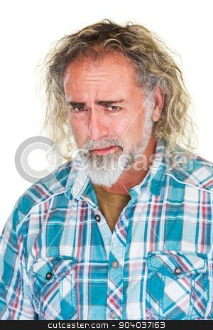 Worried Man with Beard stock photo, Close up of single worried man with beard by Scott Griessel