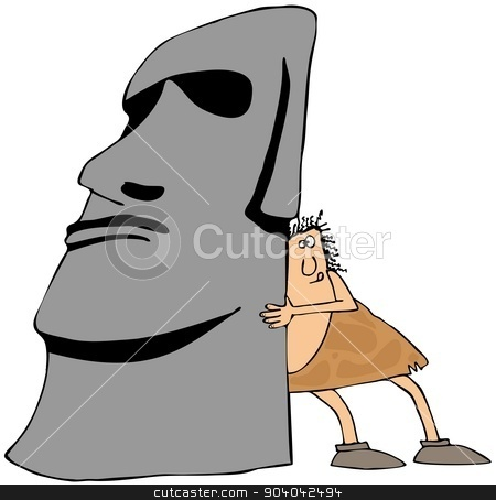 Caveman moving monolith stock photo, This illustration depicts a caveman putting his shoulder against an Easter Island monolith trying to move it. by Dennis Cox