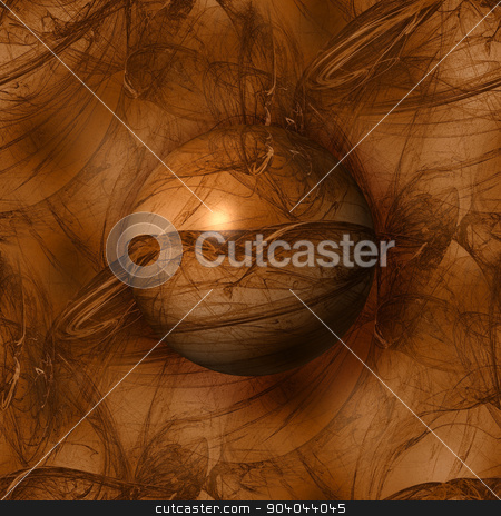 Abstract Brown Globe stock photo, Brown color globe on a fractal background. by Henrik Lehnerer