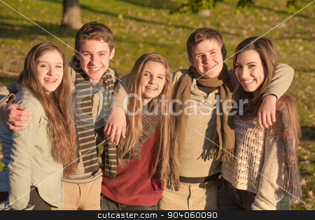 Group of Five Teens Embracing stock photo, Cute group of European teenagers embracing each other by Scott Griessel