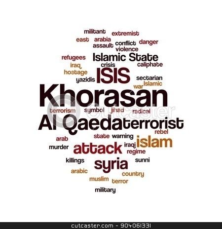 KHORASAN stock photo, KHORASAN, ISIS and Al Qaeda word cloud on white background. by Henrik Lehnerer