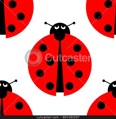 Seamles Ladybug stock photo, Seamless ladybug background on white. by Henrik Lehnerer