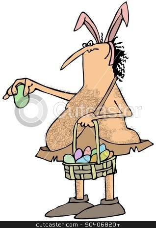 Caveman Easter bunny stock photo, This illustration depicts a caveman wearing pink bunny ears and holding a basket full of pastel colored decorated eggs. by Dennis Cox