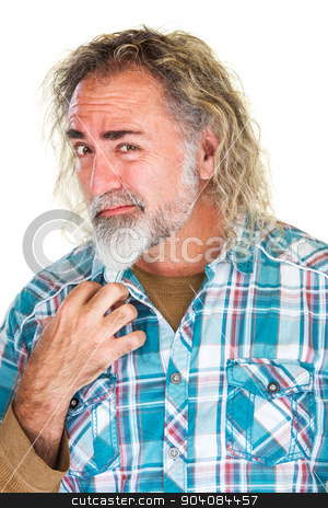 Bearded Man with Confused Face stock photo, Bearded mature man with confused expression over white by Scott Griessel