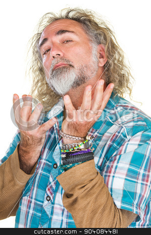 Conceited Man stock photo, Handsome conceited man with beard and open hands by Scott Griessel