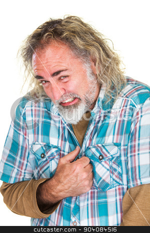 Embarrassed Man Cringing stock photo, Embarrassed and humiliated middle aged man in flannel shirt by Scott Griessel