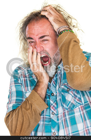 Tired Man Scratching Head stock photo, European man in beard yawning and scratching head by Scott Griessel