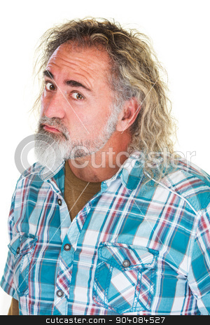 Tough Man Frowning stock photo, Insulted grumpy mature man in flannel shirt by Scott Griessel
