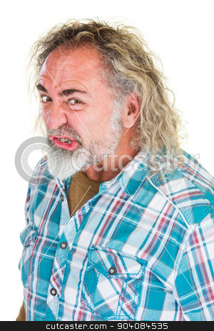 Mad Man with Curling Lip stock photo, Mad man with beard and curling lip over white by Scott Griessel