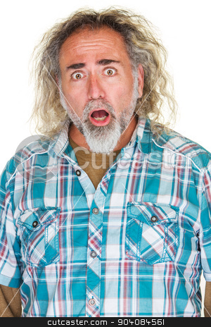 Startled Single Man stock photo, Startled middle aged man with beard and long hair by Scott Griessel