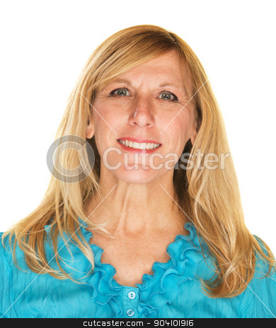Smiling Woman stock photo, Smiling mature blonde woman in blue over white by Scott Griessel