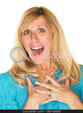 Flattered Woman stock photo, One flattered female adult with happy expression by Scott Griessel