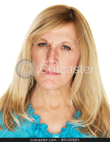 Annoyed Lady stock photo, Single adult female in blue with annoyed expression by Scott Griessel