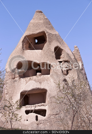 Abandoned Cave Dwelling in Cappadocia stock photo, Uninhabited historic Turkish sandstone cave home in Cappadocia  by Scott Griessel