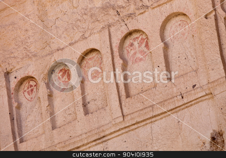 Frescoe of Crosses at Goreme Church in Cappadocia stock photo, Detail of crosses from remains of Goreme church in Cappadocia Turkey by Scott Griessel