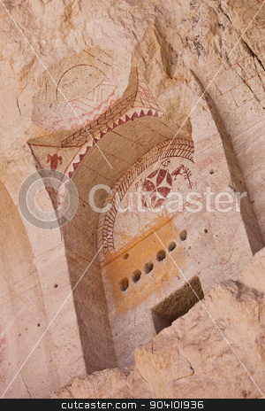 Niche with Cross Frescoe at Goreme Church in Turkey stock photo, Detail of ancient Christian church at Goreme in cappadocia Turkey by Scott Griessel