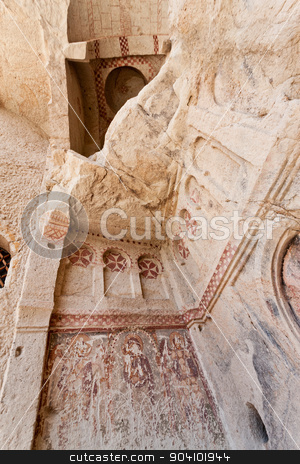 Sandstone Church Detail at Cappadocia stock photo, Goreme church remains with historic vandalism in Cappadocia Turkey by Scott Griessel