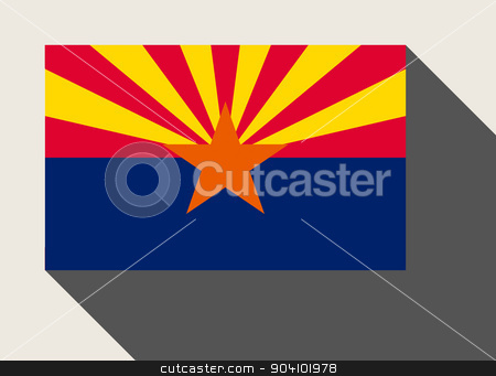 American State of Arizona flag stock photo, American State of Arizona flag in flat web design style. by Martin Crowdy