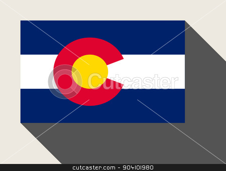 American State of Colorado flag stock photo, American State of Colorado flag in flat web design style. by Martin Crowdy