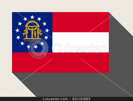 American State of Georgia flag stock photo, American State of Georgia flag in flat web design style. by Martin Crowdy