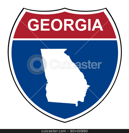 Georgia interstate highway shield stock photo, Georgia American interstate highway road shield isolated on a white background. by Martin Crowdy