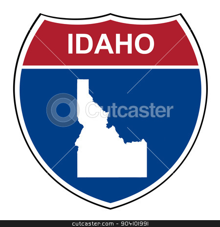Idaho interstate highway shield stock photo, Idaho American interstate highway road shield isolated on a white background. by Martin Crowdy