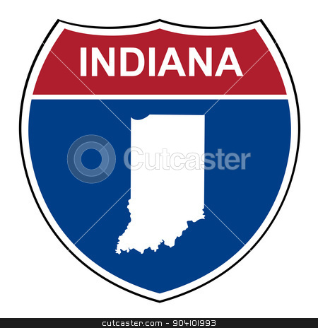 Indiana interstate highway shield stock photo, Indiana American interstate highway road shield isolated on a white background. by Martin Crowdy