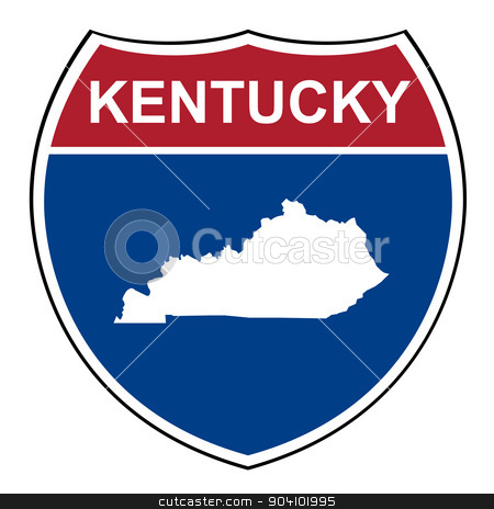 Kentucky interstate highway shield stock photo, Kentucky American interstate highway road shield isolated on a white background. by Martin Crowdy