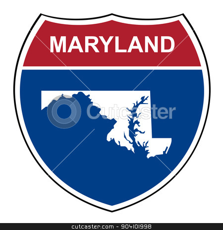Maryland interstate highway shield stock photo, Maryland American interstate highway road shield isolated on a white background. by Martin Crowdy
