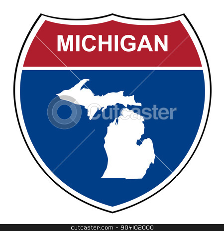 Michigan interstate highway shield stock photo, Michigan American interstate highway road shield isolated on a white background. by Martin Crowdy
