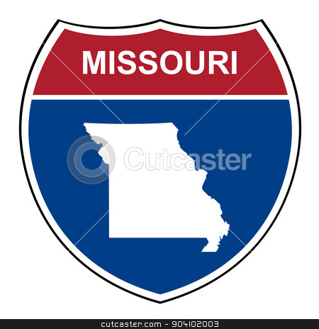 Missouri interstate highway shield stock photo, Missouri American interstate highway road shield isolated on a white background. by Martin Crowdy