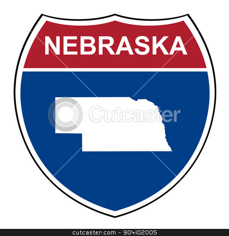 Nebraska interstate highway shield stock photo, Nebraska American interstate highway road shield isolated on a white background. by Martin Crowdy