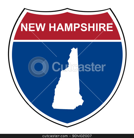 New Hampshire interstate highway shield stock photo, New Hampshire American interstate highway road shield isolated on a white background. by Martin Crowdy