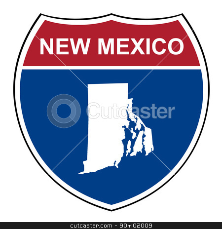 New Mexico interstate highway shield stock photo, New Mexico American interstate highway road shield isolated on a white background. by Martin Crowdy