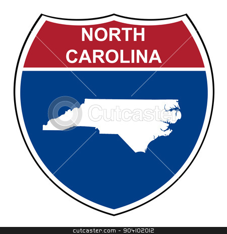 North Carolina interstate highway shield stock photo, North Carolina interstate highway road shield isolated on a white background. by Martin Crowdy