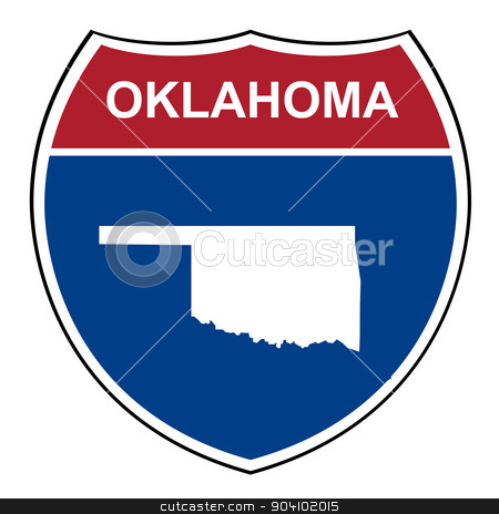 Oklahoma interstate highway shield stock photo, Oklahoma interstate highway road shield isolated on a white background. by Martin Crowdy