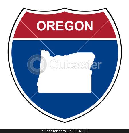 Oregon interstate highway shield stock photo, Oregon American interstate highway road shield isolated on a white background. by Martin Crowdy