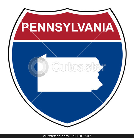 Pennsylvania interstate highway shield stock photo, Pennsylvania American interstate highway road shield isolated on a white background. by Martin Crowdy
