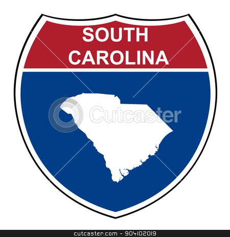 South Carolina interstate highway shield stock photo, South Carolina American interstate highway road shield isolated on a white background. by Martin Crowdy
