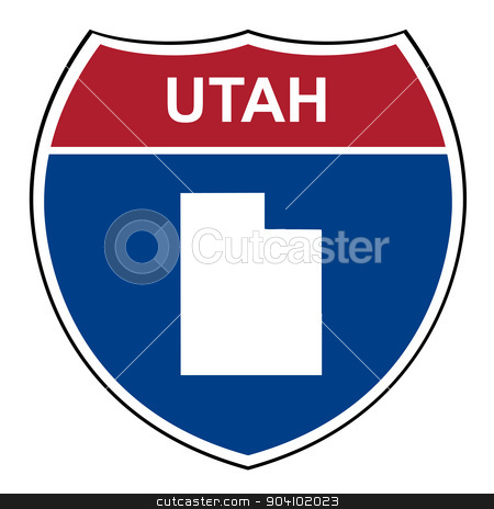 Utah interstate highway shield stock photo, Utah American interstate highway road shield isolated on a white background. by Martin Crowdy