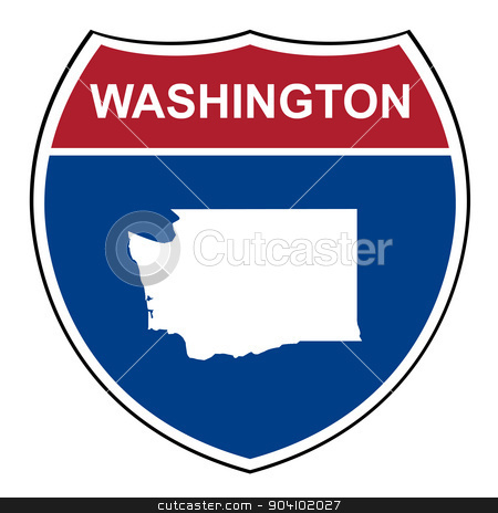 Washington interstate highway shield stock photo, Washington American interstate highway road shield isolated on a white background. by Martin Crowdy