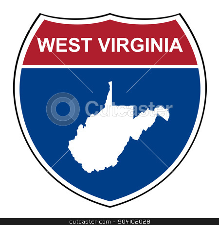 West Virginia interstate highway shield stock photo, West Virginia American interstate highway road shield isolated on a white background. by Martin Crowdy