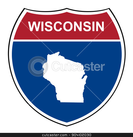 Wisconsin interstate highway shield stock photo, Wisconsin American interstate highway road shield isolated on a white background. by Martin Crowdy