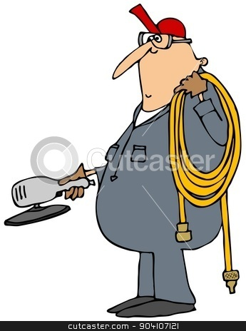 Worker with a grinder stock photo, This illustration depicts a man wearing coveralls carrying an air hose and a grinder. by Dennis Cox