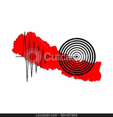 Nepal Earthquake Tremore stock photo, Red map of Nepal with a tremore illustration over it. by Henrik Lehnerer