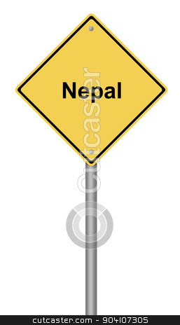Nepal Warning Sign stock photo, Yellow warning sign with the writing Nepal on whiate background. by Henrik Lehnerer