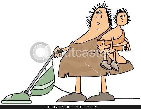 Neanderthal housewife stock photo, This illustration depicts a cavewoman holding a child and using a vacuum cleaner. by Dennis Cox